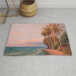 Lahaina Beach, West Maui Tropical Hawaiian Islands landscape painting by D. Howard Hitchcock Rug