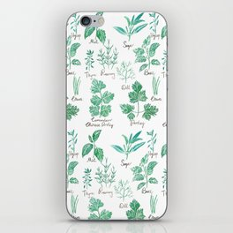 green herbs family watercolor iPhone Skin