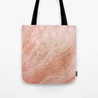 rose gold Tote Bags featuring Polished Rose Gold Marble by pixel404
