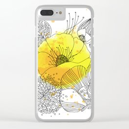 Yellow Floral Burst Clear iPhone Case