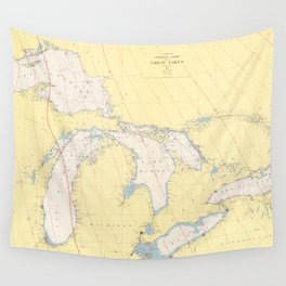 Vintage Map of The Great Lakes (1966) Wall Tapestry