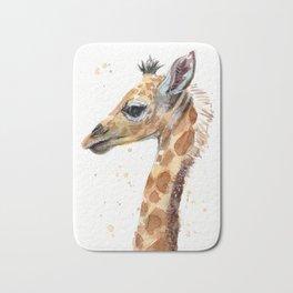 Giraffe Watercolor Cute Baby Animals Bath Mat