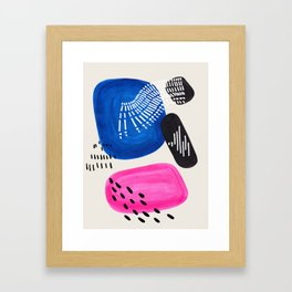 Mid Century Modern abstract Minimalist Fun Colorful Shapes Patterns Magenta Blue Bubbles Framed Art Print