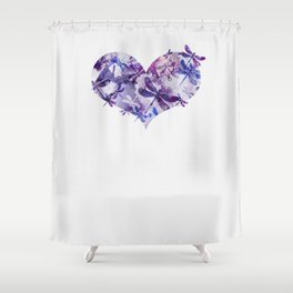 Dragonfly Heart - Ultraviolet Purple Shower Curtain
