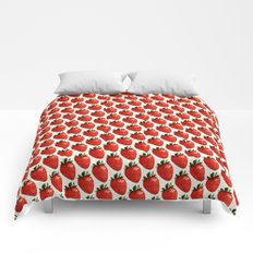 Strawberry Pattern - White Comforters