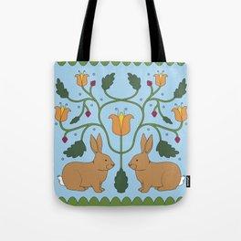 Rabbits in the Garden Folk Art Tote Bag