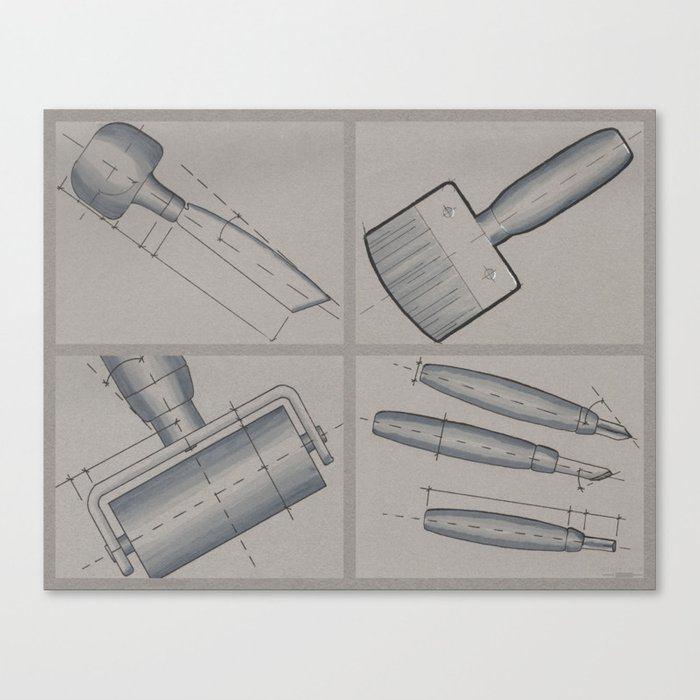Printmaking Tools Canvas Print by diodepress