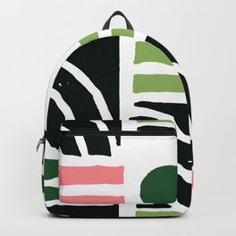 Mid-Century Modern Pattern In Lipstick Pink, Mint & Fern Green Backpack