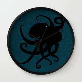 """Octopus Silhouette"" digital illustration by Amber Marine, (Copyright 2015) Wall Clock"