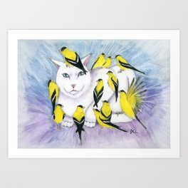 Cat Covered in Goldfinches Art Print