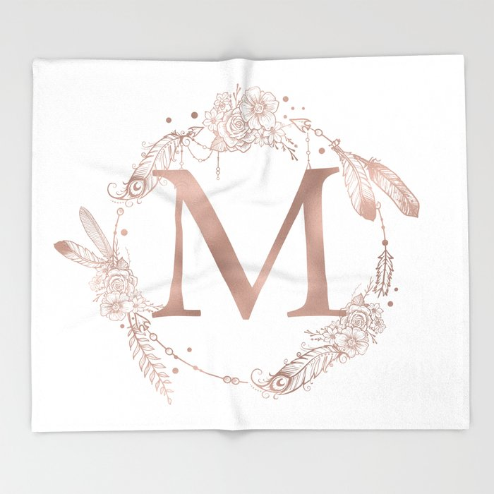 letter m rose gold pink initial monogram throw blanket by