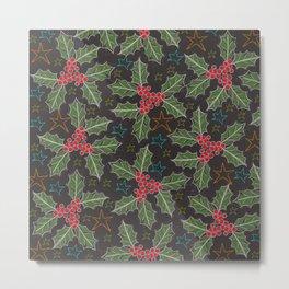 Mistletoe and Stars Metal Print