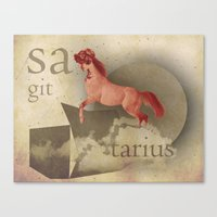 sagittarius Canvas Prints featuring sagittarius by Rosa Picnic