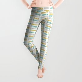 Turquoise and Gold Clothespins Leggings