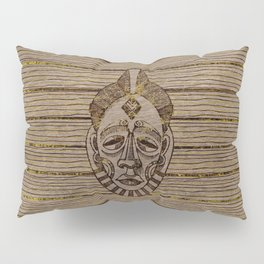 Pyrography Style African Mask on Wood with gold Pillow Sham