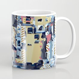 red yellow blue pink drawing and painting abstract background Coffee Mug