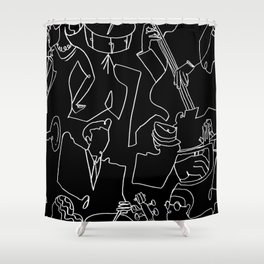 Jazz Musicians (Black) Shower Curtain