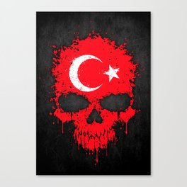 Flag of Turkey on a Chaotic Splatter Skull Canvas Print