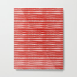Minimal Christmas red and white holiday pattern stripes candy cane stripe pattern Metal Print