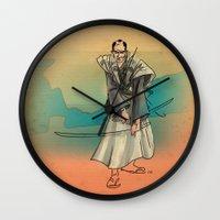 samurai Wall Clocks featuring Samurai by David Finley