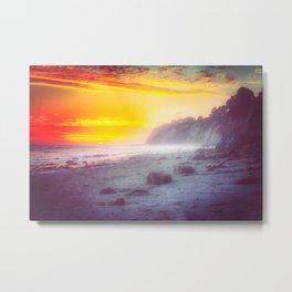 California summer beach sunset with beautiful cloudy sky Metal Print