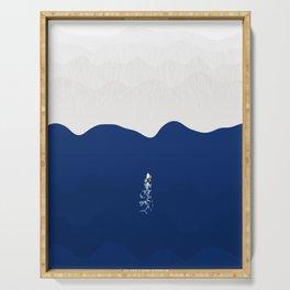 Lone Surfer | Aerial Illustration Serving Tray