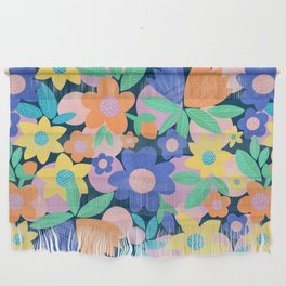 Spring Mod Flowers Pattern Wall Hanging