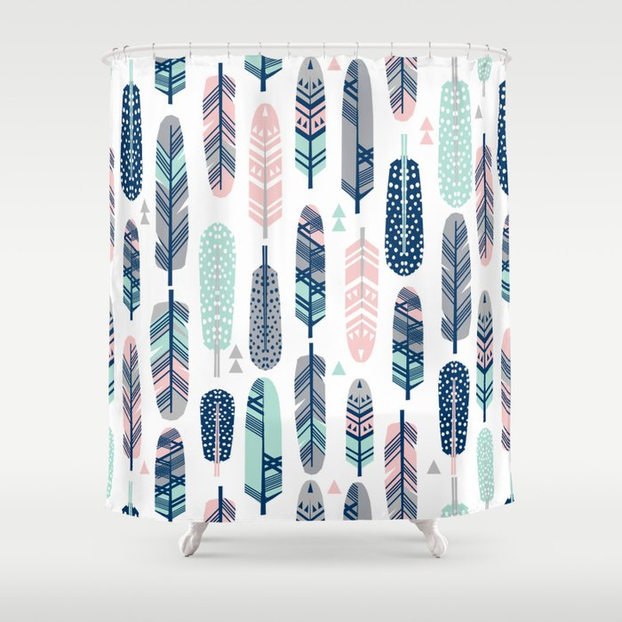 Feathers Geometric Trendy Gender Neutral Colors Modern Feather And Arrows Pattern Print Dorm College Shower Curtain By Charlottewinter