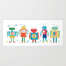 Robots Cheerful and Bright in Line Art Print