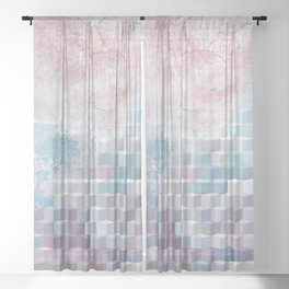 Distressed Cube Pattern - Pink and blue Sheer Curtain