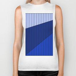 Blue Line Pattern 3 Colors Biker Tank