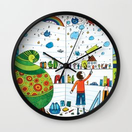 Little boy playing and learning Wall Clock
