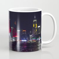 hong kong Mugs featuring Sampan of Hong Kong by Deborah Janke