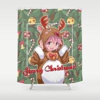 madoka Shower Curtains featuring Xmas Madoka Magica by Neo Crystal Tokyo