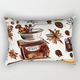 Coffee watercolor pattern with grains coffee mill and chocolate Rectangular Pillow