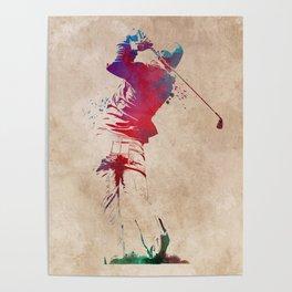Golf player sport art #golf #sport Poster