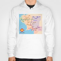 middle earth Hoodies featuring Middle-Earth metro map by tuditees
