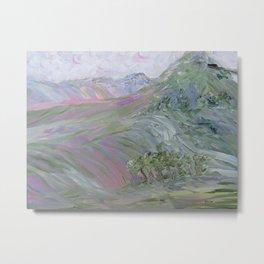 Pink Landscape Under Rosy Clouds Metal Print