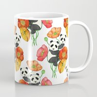 pandas Mugs featuring Poppies & Pandas by micklyn
