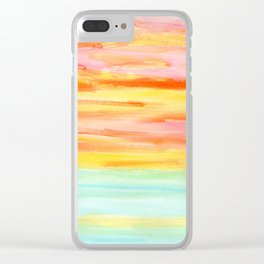 Be Yourself And Fall In Love - abstract painting stripes orange yellow landscape sunset summer beach Clear iPhone Case