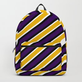 TEAM COLORS 1…Purple gold white black diagonal stripe Backpack