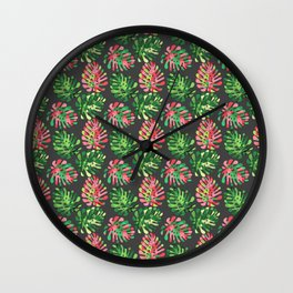 Modern colorful pink green tropical monster leaves Wall Clock