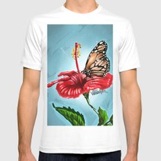Butterfly on flower 2 White Mens Fitted Tee MEDIUM