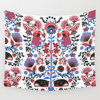 folk Wall Tapestries featuring The Pug of Folk  by Huebucket