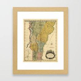 Vintage Map of Vermont (1814) Framed Art Print