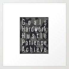 Way to success - goals, hardwork, hustle, patience, achieve Art Print