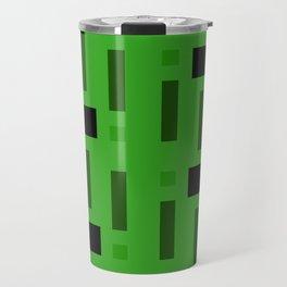 Pattern of Squares in deep Green Travel Mug