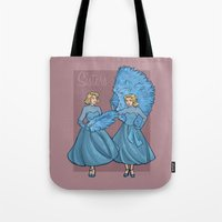 sisters Tote Bags featuring Sisters by Karen Hallion Illustrations