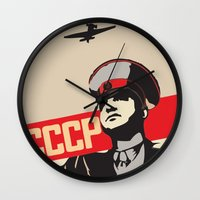 soviet Wall Clocks featuring SOVIET RED ARMY by Sofia Youshi