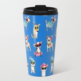 funny dogs with glasses watercolor illustration Travel Mug